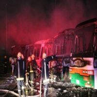 اخماد حريق سبع باصات في العاصمة المقدسة والتحقيقات جارية